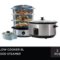 Bundling Slow Cooker 6L + Food Steamer - Russell Hobbs
