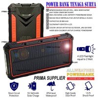 POWER BANK TENAGA SURYA PREMIUM QUALITY SOLAR POWERBANK ALLWEATHER