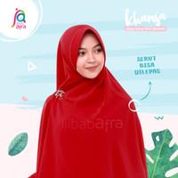 Khansa Khimar Serut Jilbab Afra Arfa Khanza Hijab Instant Merah Cherry