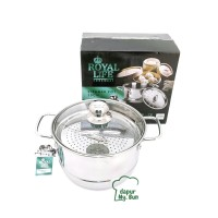 Royal Life STEAMER POT 20 cm Tutup Kaca / Panci Kukus Stainless Steel