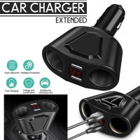 Car Cigarette Lighter Socket Splitter 3.1a Dual USB Charger Extended