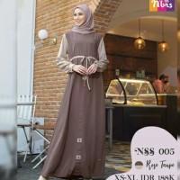Gamis Nibras NSS 05 Coklat Soft Pastel Baju Polos Busana Casual Cantik