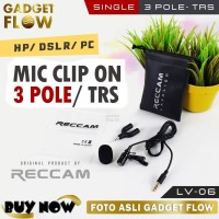 Microphone / Mic Clip On TRS 3 Pole 3.5 mm Android DSLR - Reccam LV-06