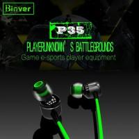 Headset Gaming Earphone Gaming 4D Binver P35 - Abu-abu