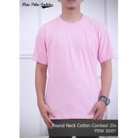 Kaos Polos Cotton Combed 20s Pink - S