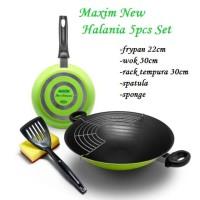 Maxim New Halania 5Pcs Set Frypan/Wok/Wajan Penggorengan Anti Lengket