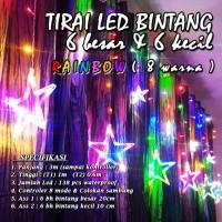 Lampu Natal Tirai LED Bintang Rainbow 138 LED 3 Meter