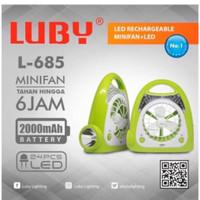 Kipas Angin Meja Luby L685 - Lampu Emergency Desk Fan Led Light L-685
