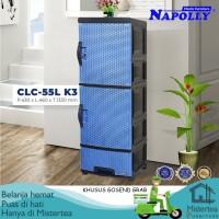 [GRAB GOSEND] LEMARI LACI PLASTIK NAPOLLY 3 SUSUN MOTIF ROTAN CLC 55L