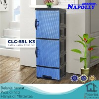 LEMARI LACI PLASTIK NAPOLLY 3 SUSUN MOTIF ROTAN CLC-55L K3
