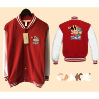 Jaket varsity Premium desain One Piece Luffy punch