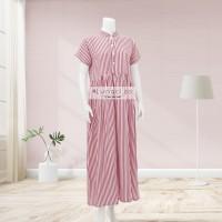 Lunaci Red Vertical Stripes Maxi Dress