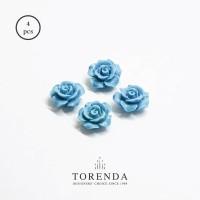 Torenda Jewelry Rose Acrilyc Small Biru (col.60) - Bunga Rose / PCS