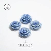 Torenda Jewelry Rose Acrilyc Small Biru (col.36) - Bunga Rose / PCS