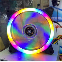 SKU-1220 FAN CASING 12CM RGB LED RAINBOW KONEKTOR MOLEX FAN CASE