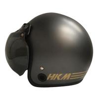 Helm Retro HKM Line Gunmet Doff(Free Kaca Helm)