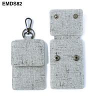 Dompet STNK Mobil Motor gantungan kunci pria wanita abu serat EMDS82