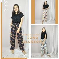 LONG BLOSSOM celana santai wanita motif cantik kekinian celana panjang
