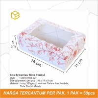 Box Brownies, Packaging,Dus Kue, Kotak, Kardus Roti Cake - CB161105-WT