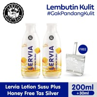 LERVIA Lotion Susu Plus Honey 200mL + 30mL Twin Pack Free Tas Silver