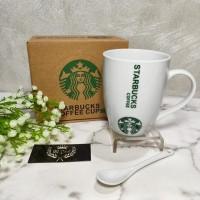 Cangkir Keramik Starbucks Gift Set Ceramic Mug 350 ml dengan sendok
