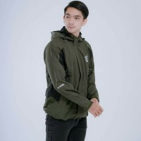 jaket gunung outdoor waterproof hijau army hitam premium fit L