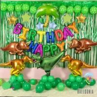 SET Premium Balon Foil Birthday Dinosaurus   Dekorasi Ulang Tahun