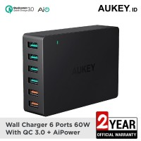Aukey Charger 6 Ports 60W QC 3.0 & AiQ - 500078