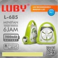 Kipas Angin Portable 4inchi + Lampu Emergency + Senter 3in1 LUBY L-685