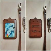 gantungan id card kulit asli holder