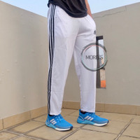 Celana Training Adidas Dasar Warna - Putih Lis Hitam, M