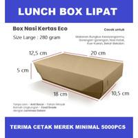PAPER LUNCH BOX LIPAT - LARGE COKLAT - BAHAN KRAFT KEMASAN MAKANAN