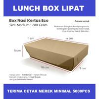 PAPER LUNCH BOX LIPAT - MEDIUM COKLAT - BAHAN KRAFT KEMASAN MAKANAN