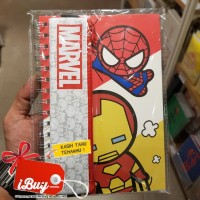 Miniso Spiderman Ironman Marvel Memo Book With Tempat Pensil 60 Sheets