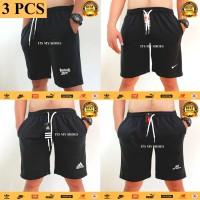 Celana Pendek Pria Sporty-Celana Kolor Hitam-3 Pcs-Hitam