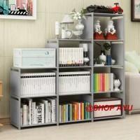 Rak buku serbaguna rak portable lemari buku - Tiga sisi gray