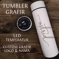 Tumbler Custom Grafir Nama LED H220 Botol Termos dengan Temperatur