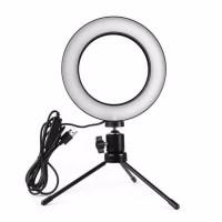 Paket Ring Light LED 16cm + Tripod Besi - Lampu Makeup / Vlog & Selfie