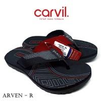 Sandal Pria Carvil Original Anti Air - Sendal Carvil Pria Arven Red