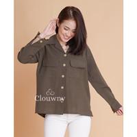 Clouwny - Central linen shirt - kemeja wanita - busui friendly