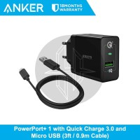 ANKER PowerPort+ 1 Charger Quick Charge Kabel Micro USB Fast Charging