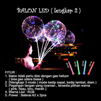 Balon LED RGB LENGKAP 2/BOBO LED/Balon Lampu Tumblr 3 MODE + Gagang