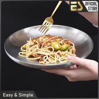 ES Piring Stainless Steel 304 Piring Makanan Barat Piring Serbaguna - Diameter 21cm