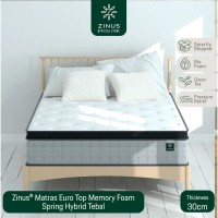 Zinus® Kasur 30cm Euro Top Memory Foam Spring Hybrid - Single