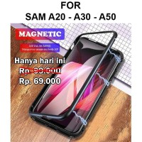 Magnetic case Samsung A20 - A30 - A50 casing cover hp tempered glass