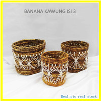Keranjang Banana Rajut Macrame ISI 3 / Banana Basket Kawung isi 3 PCS