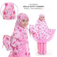 Mukena Anak Size S 3-4 Tahun Karakter Hello Kitty Cherry Tas Ransel