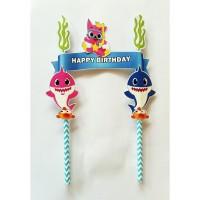 topper hiasan kue cake ulang tahun hbd birthday karakter baby shark