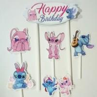 topper hiasan kue cake ulang tahun happy birthday karakter stitch