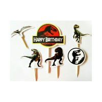 topper hiasan kue cake ulang tahun hbd birthday karakter jurasic park